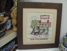 """Vintage Hand Stitched Sampler Embroidery 20"""" x 21"""" Framed Olde Williamsburg"""