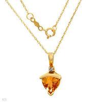"1.52ctw Genuine Trillion Yellow CITRINE 10K Yellow GOLD 18"" Necklace Pendant"
