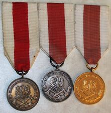 Poland Polish Fire Fighter's Merit Medal Complete Set 1st , 2nd , & 3rd Class