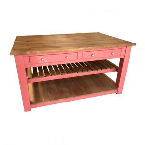 Handmade Rustic Painted Kitchen Island (Solid Wood Bespoke)