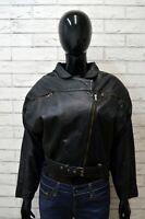 Giubbotto Vera Pellle Donna Taglia 46 Giacca Foderato Nero Woman Leather Jacket