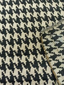 Keltic Houndstooth Upholstery Fabric in Beige BTY