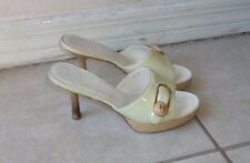 CHANEL PALE GREENISH YELLOW PATENT LEATHER WOOD HEEL SANDALS Sz 6B MADE IN ITALY