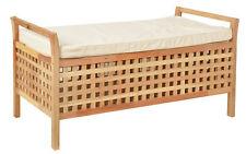 Sitzbank aus massivem Walnuss Holz mit Polster Badmöbel Wäschekorb Truhe NEU
