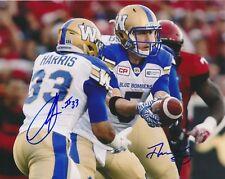 Drew Willy & Andrew Harris Winnipeg Blue Bombers CFL autographed 8x10 Photo COA
