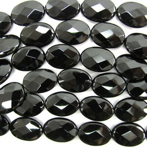Natural Black Onyx Semi Precious Gemstone Oval Beads for Jewelry Making Black Onyx Faceted Oval Beads 9x12mm Faceted Oval 5inch Strand