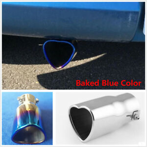 63mm Inlet Dia Blue Burn Heart Shaped Car Exhaust Pipe Muffler Tip Creative Gift