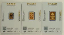 Pamp Suisse 1, 2.5, & 5 Gram .9999 Fine Gold Fortuna Bullion Bar Collection
