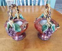 Gorgeous Set of 2 Vintage Pottery Planter Basket with Purple Grapes