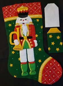 "Finished Bucilla ""Christmas Classic Nutcracker 18""ChristmasStockingHandstitched"