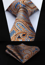 "TP826N8S Orange Blue Paisley 3.4"" Silk Woven Men Tie Necktie Handkerchief Set"