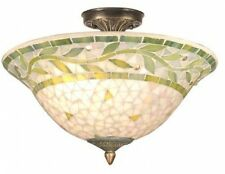 Ceiling Light Fixture Antique Mosaic Shade Stained Glass Lighting Home Decor Art