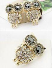 New Fashion big Charm Black Eye sparkling full rhinestone owl stud earring 17g
