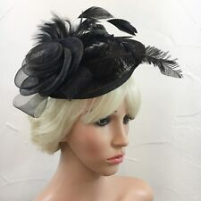 Black Fascinator Rose and Feather Alice Band Sinamay Hat Wedding Races