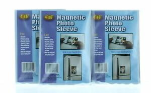 """Lot of 6 Magnetic 4"""" x 6"""" Photo Sleeves Insert Picture Reusable Holder"""
