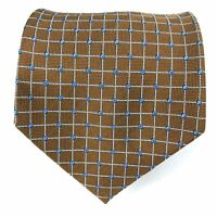 Brooks Brothers Men's Tie Silk Brown Blue Dots Plaid Necktie England Woven 60""