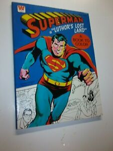 1975 SUPERMAN Luthor's Lost Land Coloring Book Very High Grade Whitman Uncolored