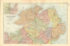 1895 ANTIQUE MAP - IRELAND, NORTH, CENTRAL AND SOUTH, 3 MAPS