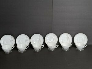 Platinum Wheat Vintage Fine China Japan Cup And Saucers Set Of 6