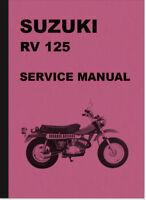 Suzuki RV 125 Reparaturanleitung Werkstatthandbuch Repair Service Manual RV125