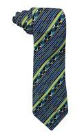 "Emilio Pucci Mens 100% Silk Signed Tie Blue/Green Geometric Stripes  3 3/8"" NWOT"