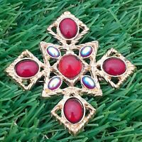 Vintage 1970s Red Glass Cabochon - Goldtone Maltese Cross Style Brooch Pin