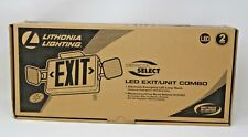 New Lithonia Led Emergency Exit Sign Light W Green Letters White Background