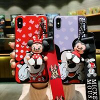 Mickey Minnie Mouse Doll Wristband Case Cover For iPhone X XS Max XR 7/8Plus 6S