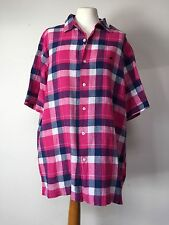 "Cuadros Algodón Manga Corta Camisa-Azul/rosa caliente grande 48"" pecho"