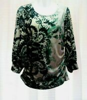 WOMEN'S ALFANI SCROLL FLORAL LEAF 3/4 SLEEVE RUCHED SIDES STRETCHY TOP SIZE M