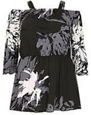 Sheego Mousseline Chemisier shirt taille 44//46-48//50 Noir Blanc 094 NEUF
