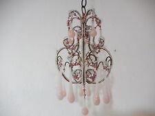 ~c1930 French True Pink Opaline Murano Drops & Beads Petit Chandelier~
