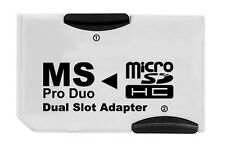 ADAPTADOR DOBLE MICRO SD SDHC MEMORY STICK PRO DUO MS PSP 1000 2000 3000 DUAL