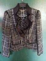 WHBM White House Black Market Tweed Ruffle Trim Blazer/Jacket Sz.2