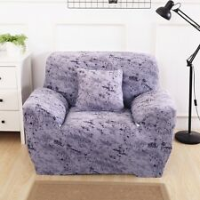 Purple Grey Elegant Polyester and Spandex Stretch Box Cushion Chair Slipcover