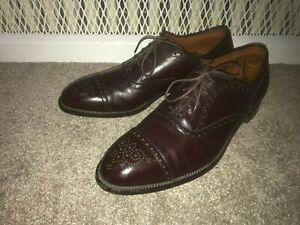 Alden New England MEDALLION TIP BAL OXFORD 908 Burgundy Calfskin Shoes Men's 12