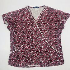 Nu Dimension Women's Scrub Top Large Hearts design Medical Top Pre Owned