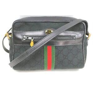 Gucci Shoulder Bag GG Sherry Black Canvas 1132606
