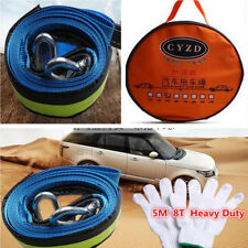 Car SUV Tow Rope Strap Cable Road Recovery Strap+Hook Emergency Heavy Duty 8T 5M