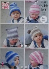 KNITTING PATTERN Baby Easy Knit Hats Beret 6 Styles Cottonsoft DK King Cole 5105