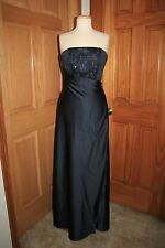 LONG STRAPLESS SATIN MOB/MOTHER BRIDE/GROOM DRESS SIZE 8 NAVY BLUE