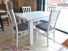 SET of WHITE extending dining table & 4 wooden chairs with houndstooth fabric Ma