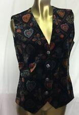 Vintage Womens Ruff Hewn Vest Medium M Hearts Flowers Buttons True American Wear