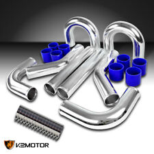 "3"" Aluminum Turbo Intercooler Piping Kit+Blue Silicon Hose+Bolt Clamps"