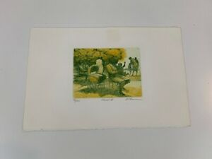 Vtg Harold Altman Child IV Realism Yellow Green Colored Unframed Etching Signed