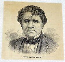 small 1880 magazine engraving ~ actor JUNIUS BRUTUS BOOTH