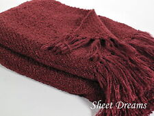 Churchill Weavers Berea Handwoven Acrylic Boucle Throw Blanket Aubergine New