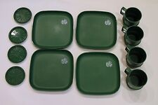 Tupperware Green Christmas Dishes Bird Dove Plates Cups Coasters 12 pc Set Lot