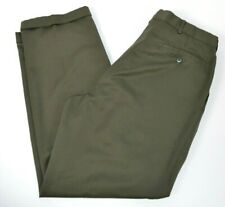 Savane Mens Pleated Dress Pants w/ Leg Cuffs Olive 36x32