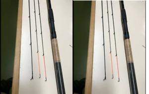 2 X Dinsmores Barbel 11ft 2 piece Rod Avon Style 1.5lb plus Quiver section Tip